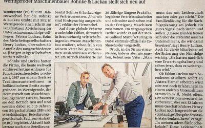 Nachfolge im Unternehmen gesichert – Artikel in der Volksstimme Wernigerode